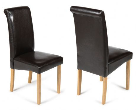 Roma Brown Dining Chairs with Oak Legs 1/2 price Sale Now On Your Price Furniture